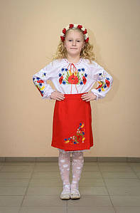 Спідниця Волинські візерунки українська вишита на дівчинку Польові квіти 122 см червона