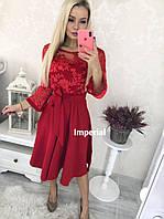 Нарядное женское платье бежевое красное 42-44 44-46