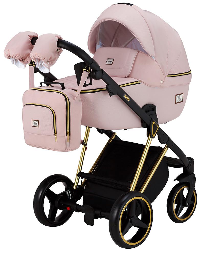 Коляска 2 в 1 Adamex Mimi Polar Y813 розовый пудра (кожа) - розовый