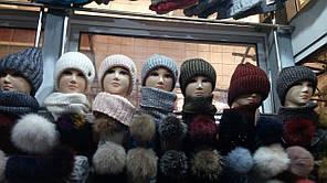 Женский набор шапка + снуд цвета  в ассортименте