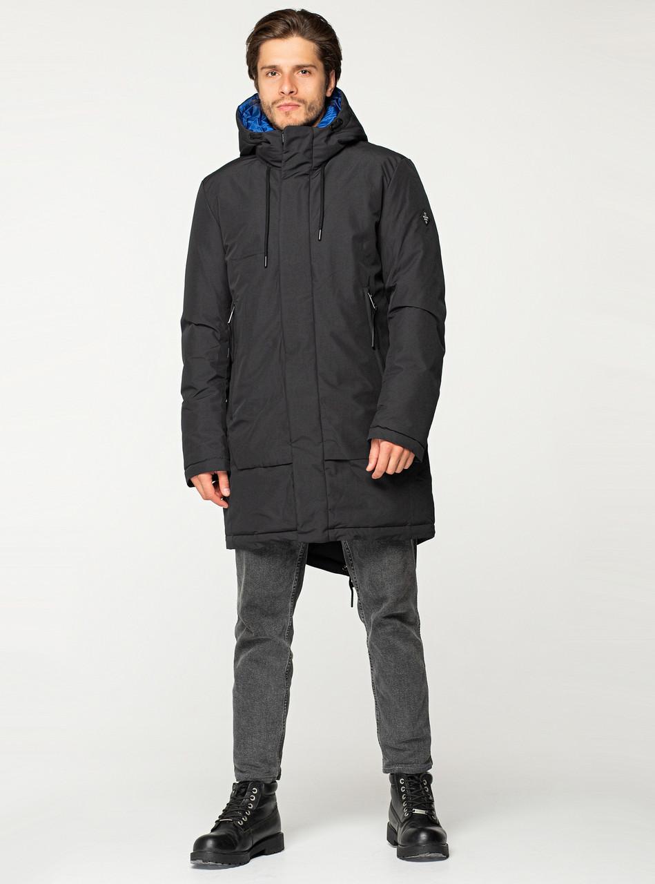 Удлиненная мужская зимняя куртка VIVACANA чёрная