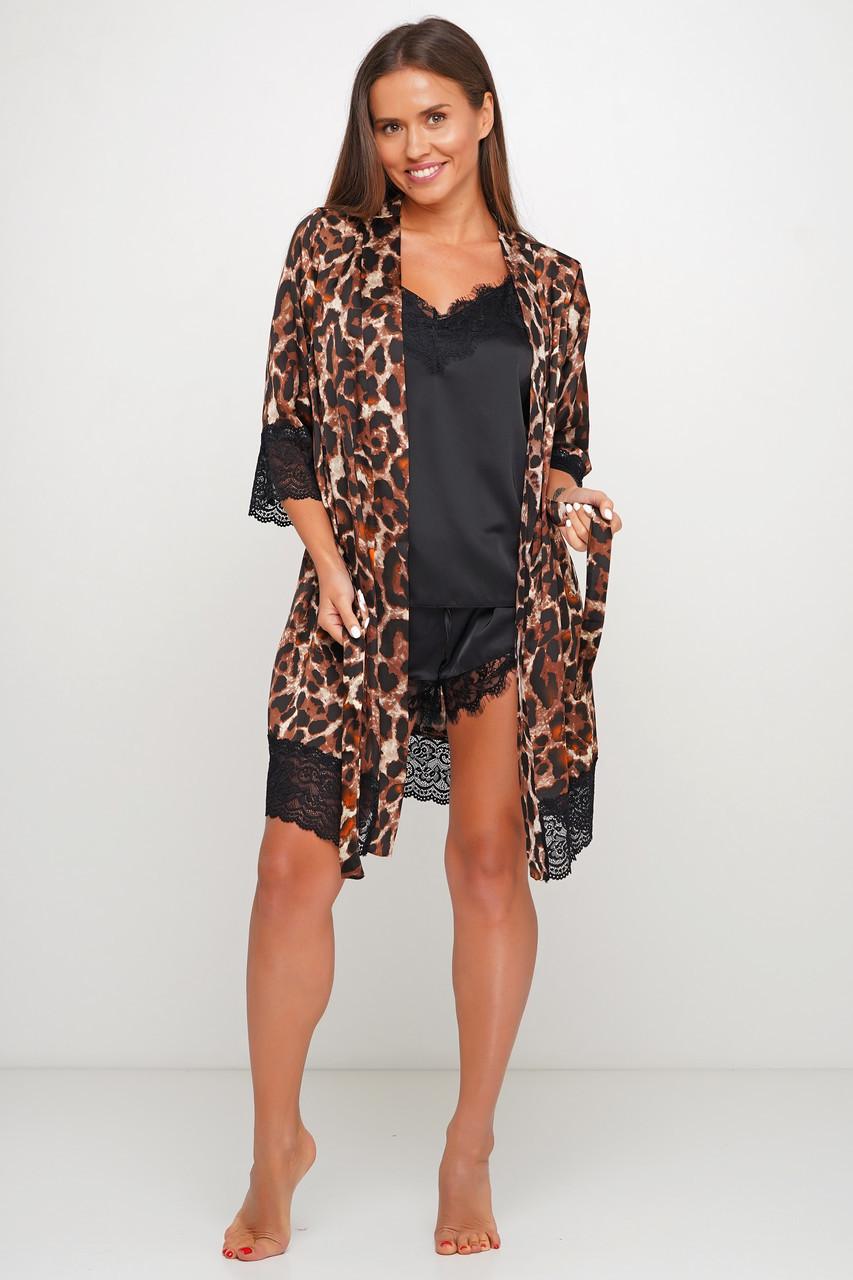 Шикарный леопардовый комплект майка шортики и халатик