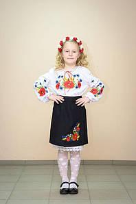 Спідниця Волинські візерунки українська вишита на дівчинку Польові квіти 128 см чорна