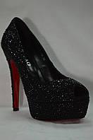 Вечерние черные туфли Hilag  на платформе с открытым носиком. Лабутэны.