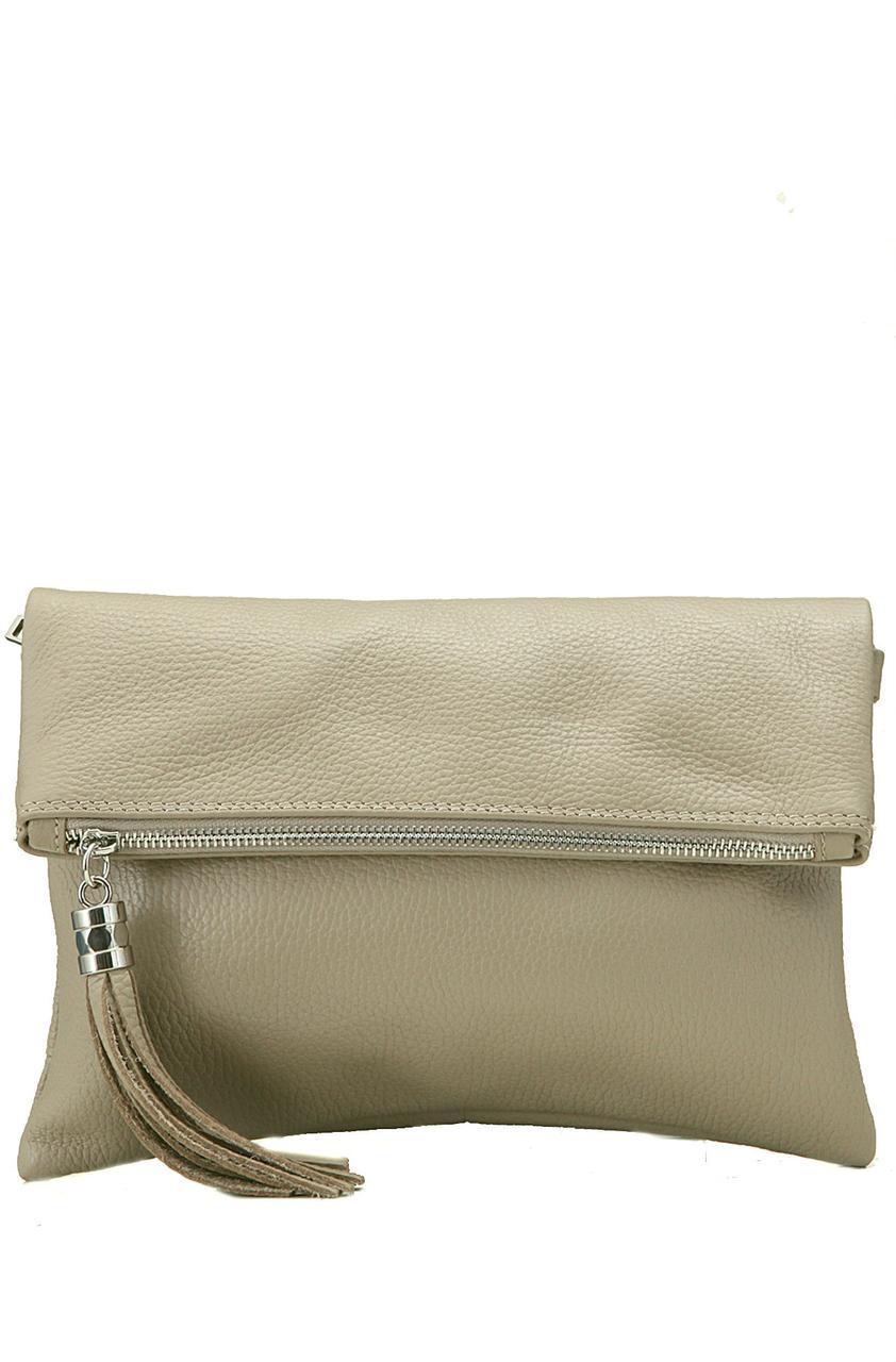 Кожаная женская сумка ELSBE Diva's Bag цвет темно-бежевый