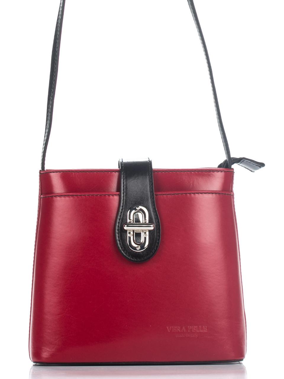 Женская кожаная сумка кросс боди ELIDE Diva's Bag цвет красный/черный