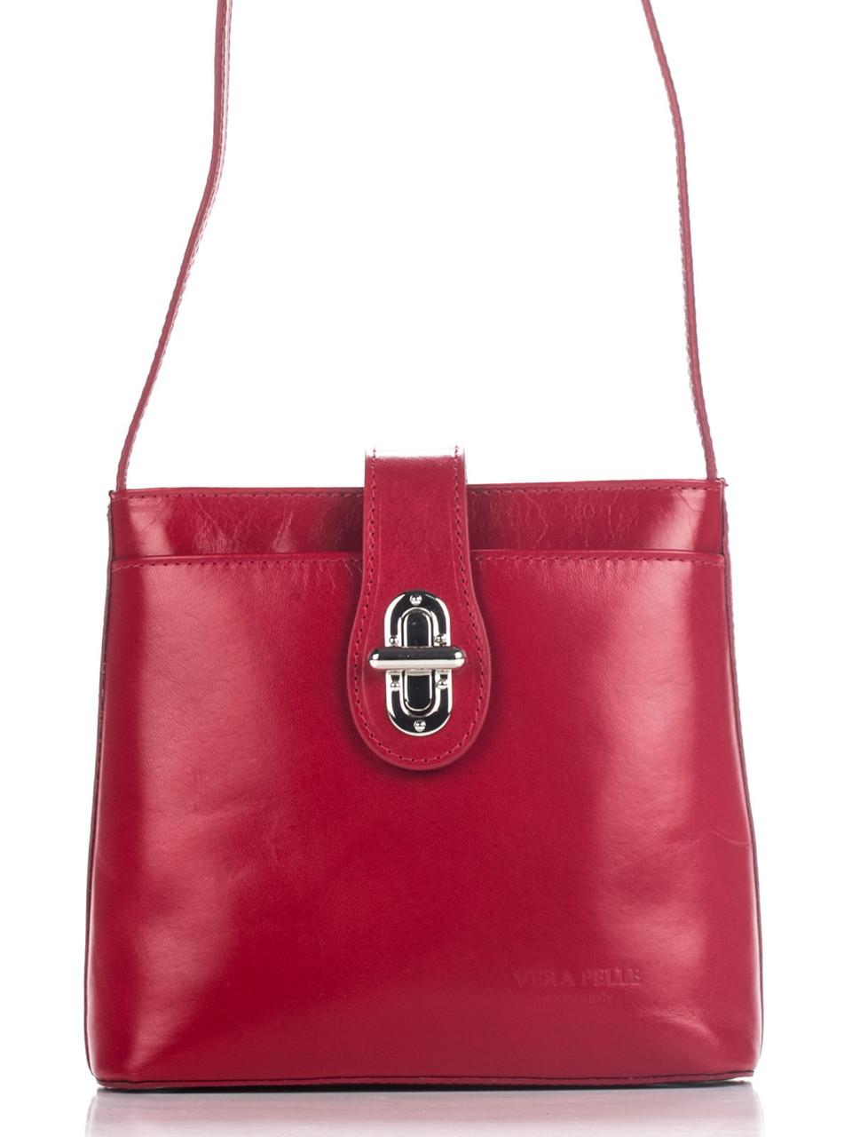 Женская кожаная сумка кросс боди ELIDE Diva's Bag цвет красный