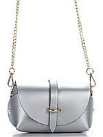Итальянская женская  кожаная сумка ELVIA Diva's Bag цвет серебряный