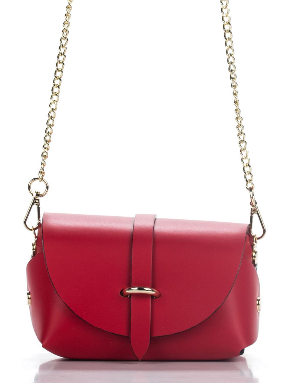Итальянская женская  кожаная сумка ELVIA Diva's Bag цвет красный