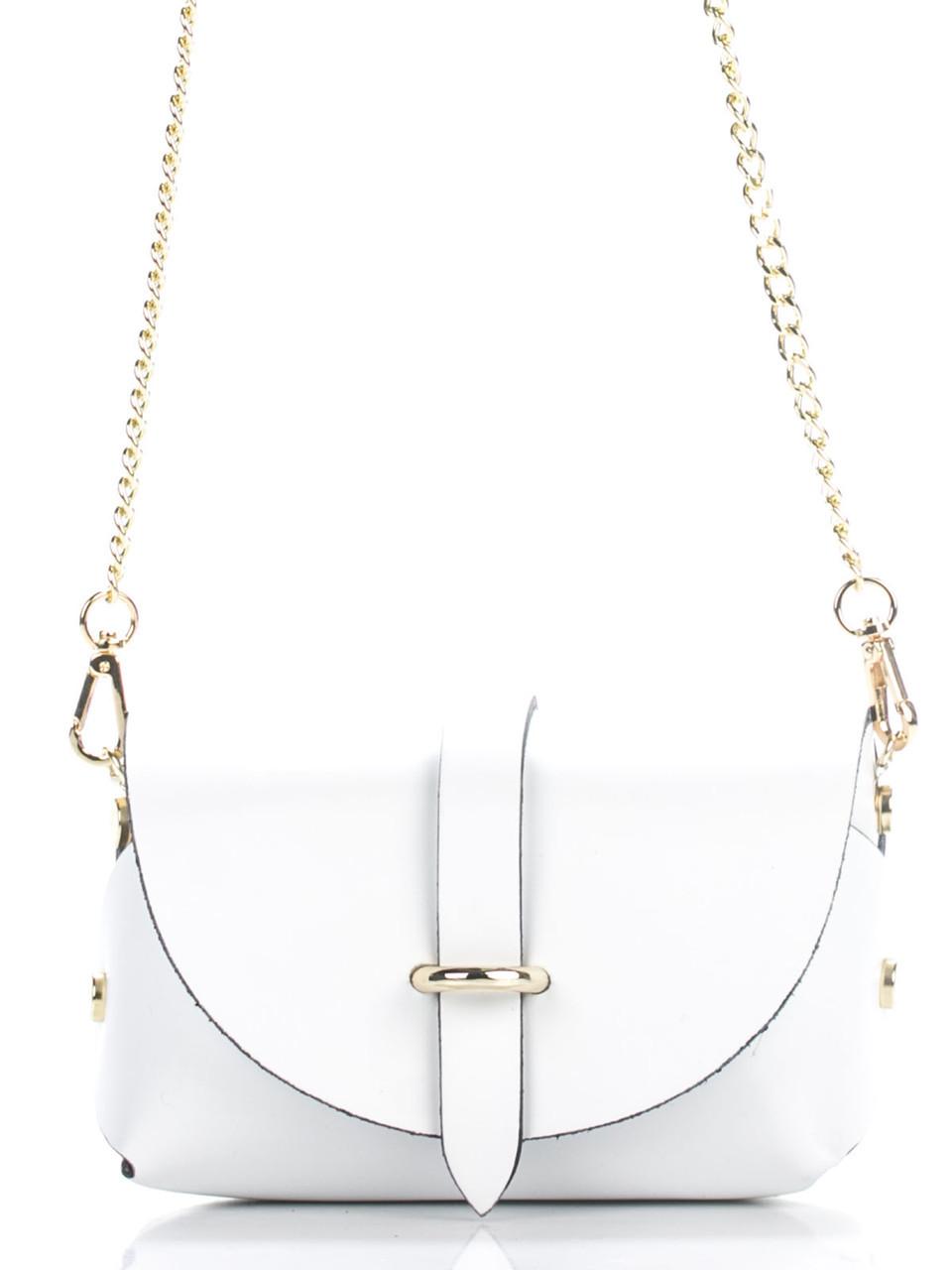 Итальянская женская  кожаная сумка ELVIA Diva's Bag цвет белый