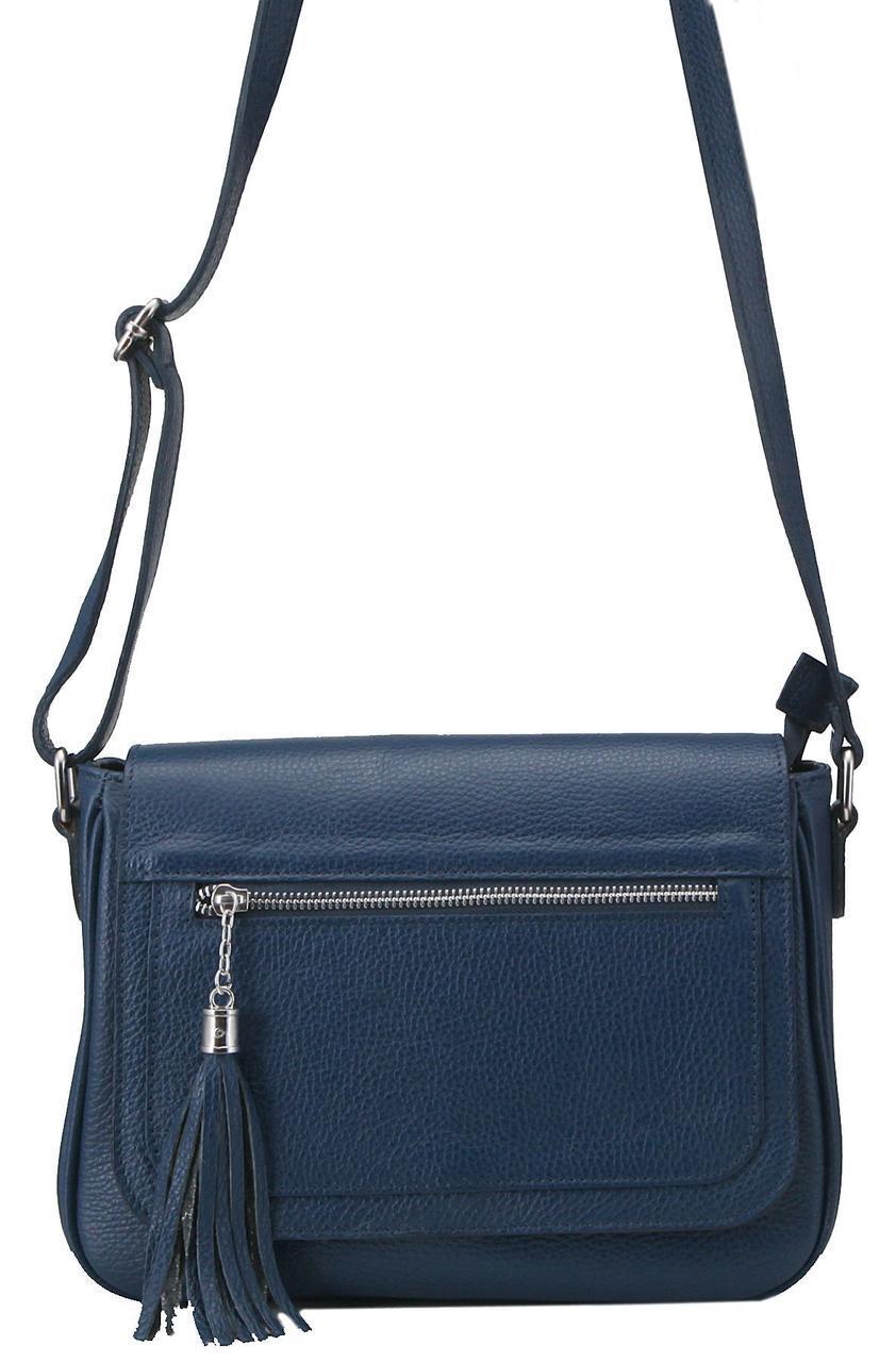 Женская кожаная сумка с Италии ELAIDE Diva's Bag цвет темно-синий
