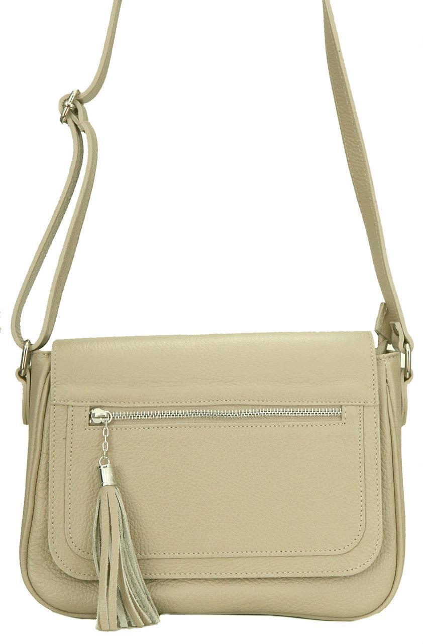 Жіноча шкіряна сумка з Італії ELAIDE diva's Bag колір світло-коричневий