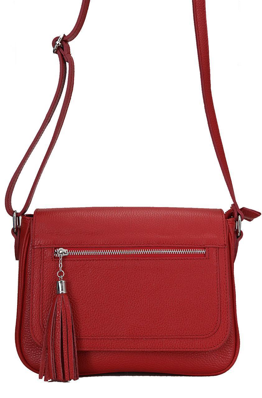 Женская кожаная сумка с Италии ELAIDE Diva's Bag цвет красный