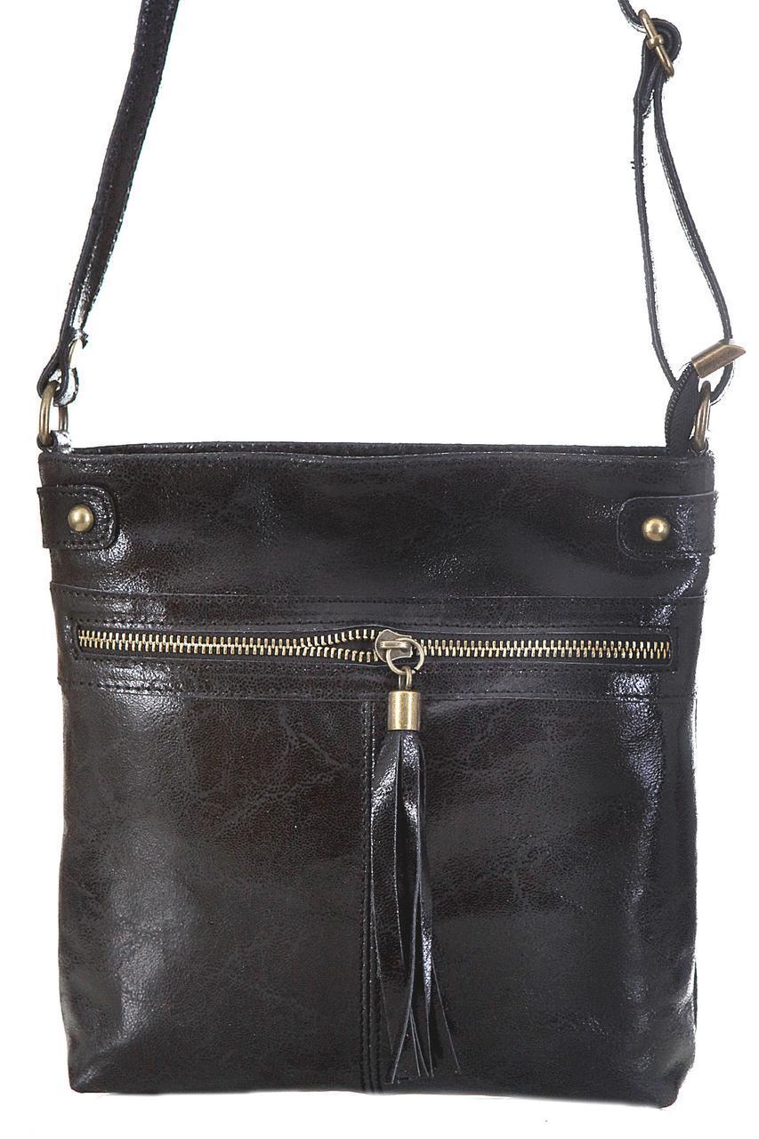 Класическая женская кожаная сумка EVAN Diva's Bag цвет черный