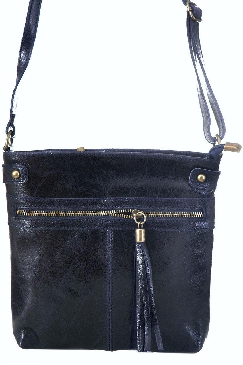 Класическая женская кожаная сумка EVAN Diva's Bag цвет темно-синий