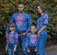 Женская вышиванка темно-синяя Говерла Семейные вышиванки