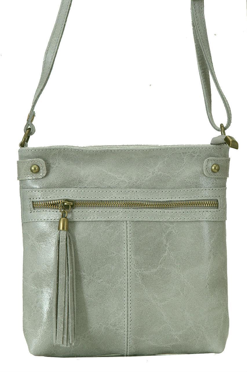 Класическая женская кожаная сумка EVAN Diva's Bag цвет серый