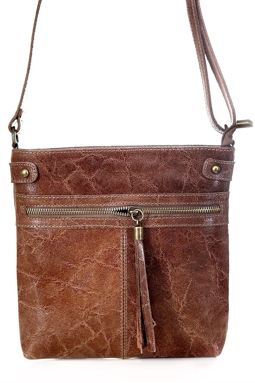 Класическая женская кожаная сумка EVAN Diva's Bag цвет коричневый