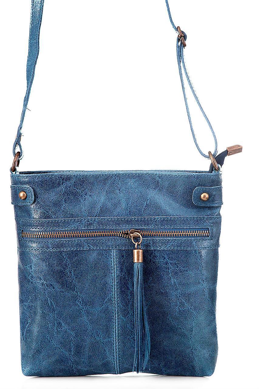 Класическая женская кожаная сумка EVAN Diva's Bag цвет синий