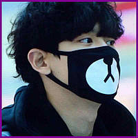 Маска на лицо Пушка Огонь Панда черная | Балаклава, маска | Хэллоуин