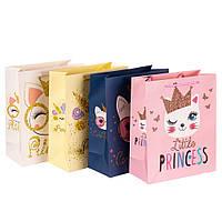 """Подарочные пакеты """"Кошечки-принцессы"""" (32*12*26) плотный картон"""