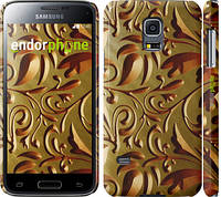 "Чехол на Samsung Galaxy S5 mini G800H Золотой металлический узор ""746c-44"""