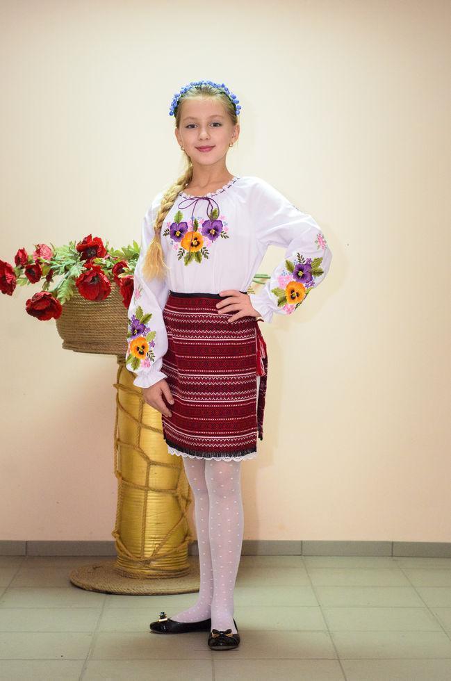 Юбка Волинські візерунки  украинская тканая 110 см бордовая