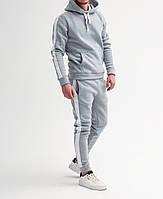 Спортивный костюм ЗИМНИЙ мужской с лампасами grey-white