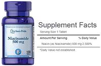 Puritan's Pride, Ниацинамид, Никотинамид, Витамин В3, Витамин РР, 500 мг, 100 таблеток