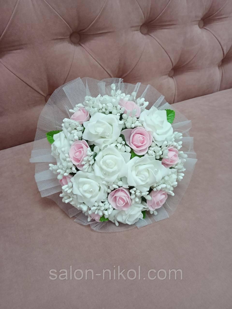 Свадебный букет-дублер для невесты нежно-розового цвета