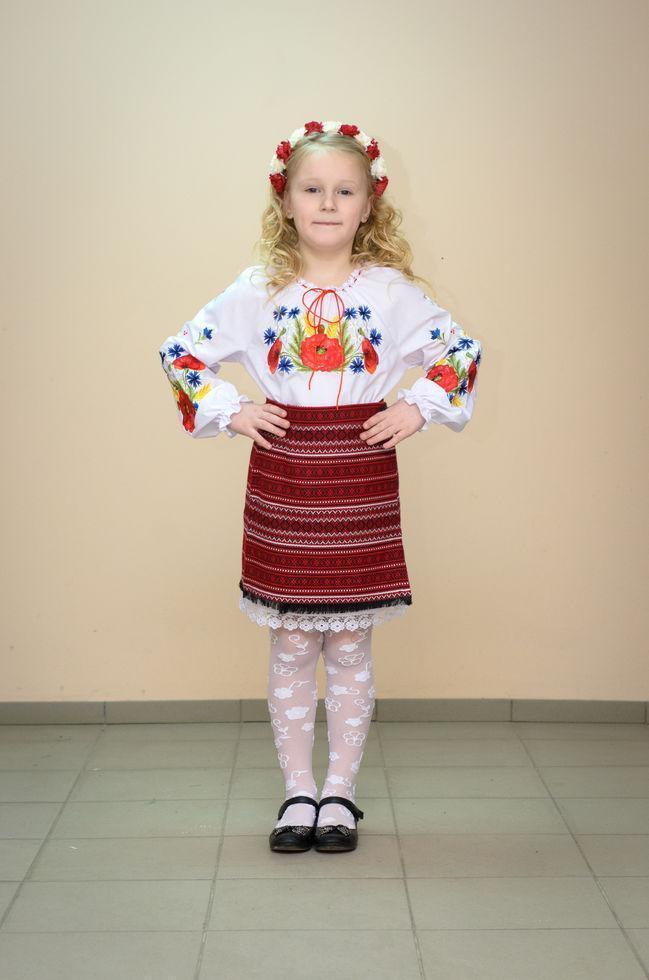 Спідниця Волинські візерунки українська ткана на запах 128 см бордова