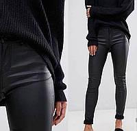 Женские стильные теплые кожаные брюки на флисе