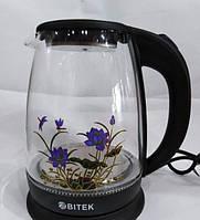 Электрочайник стеклянный BITEK BT-3111 с цветком 1,8 л 2400 Вт