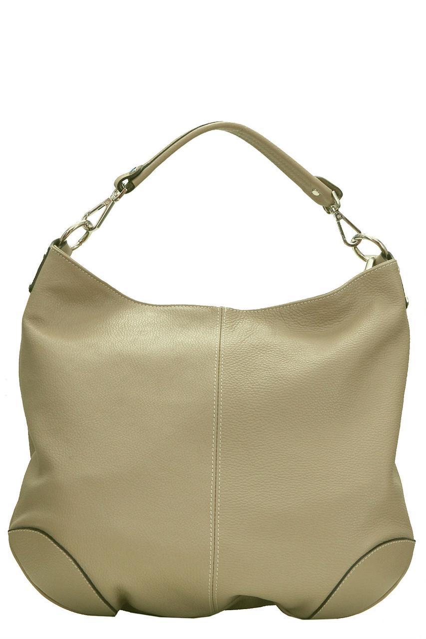 Тоут женская  кожаная сумка FEDRA Diva's Bag цвет темно-бежевый