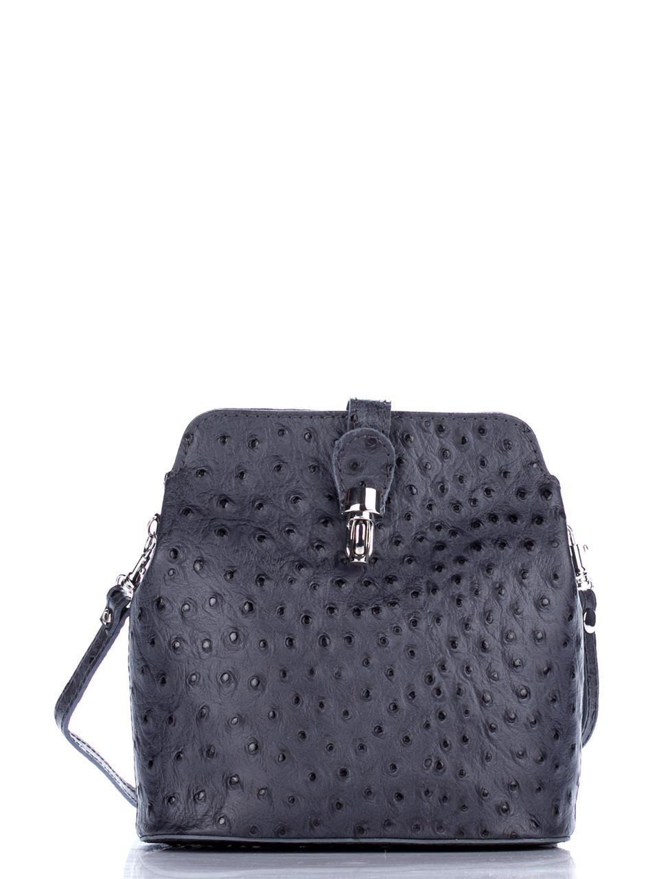 Стильная женская кожаная сумка INES Diva's Bag цвет темно-серый