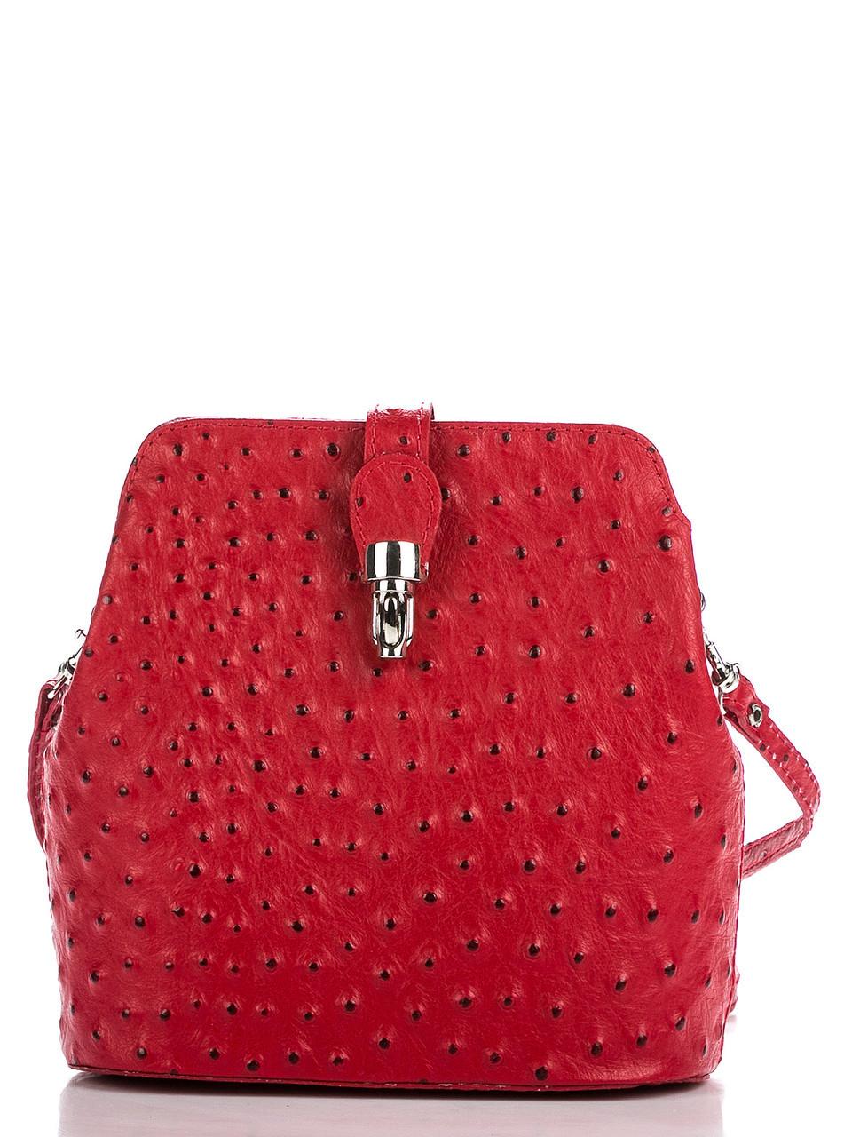 Стильная женская кожаная сумка INES Diva's Bag цвет красный