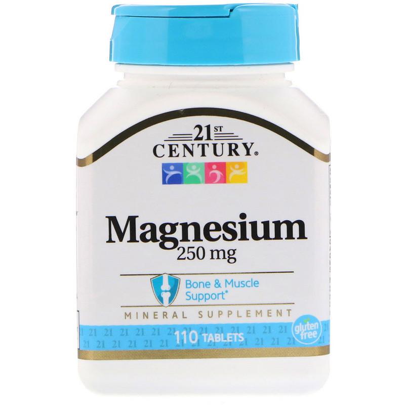 """Магний 21st Century """"Magnesium"""" 250 мг, поддержка костей и мышц (110 капсул)"""