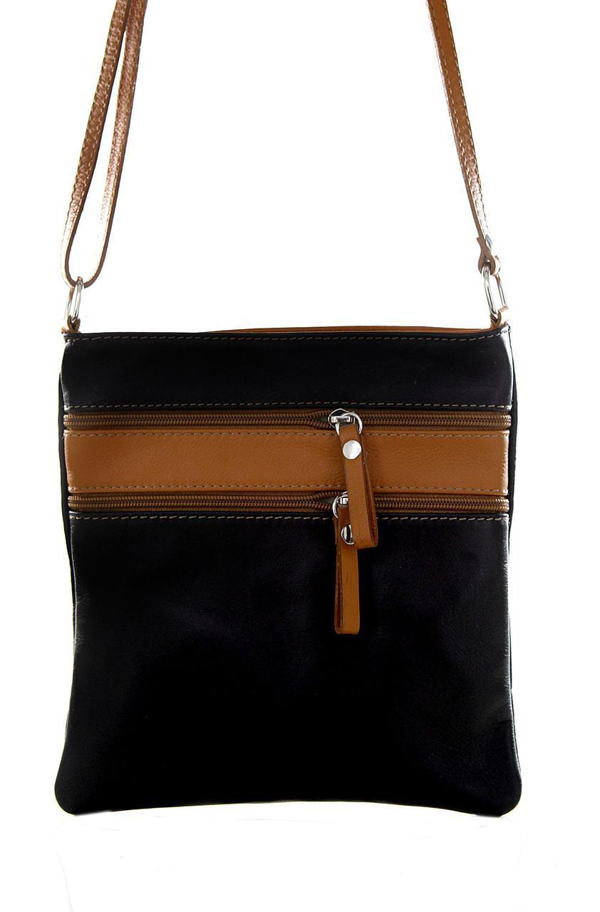 Женская кожаная сумочка TAMARA  Diva's Bag цвет черный+коньячный