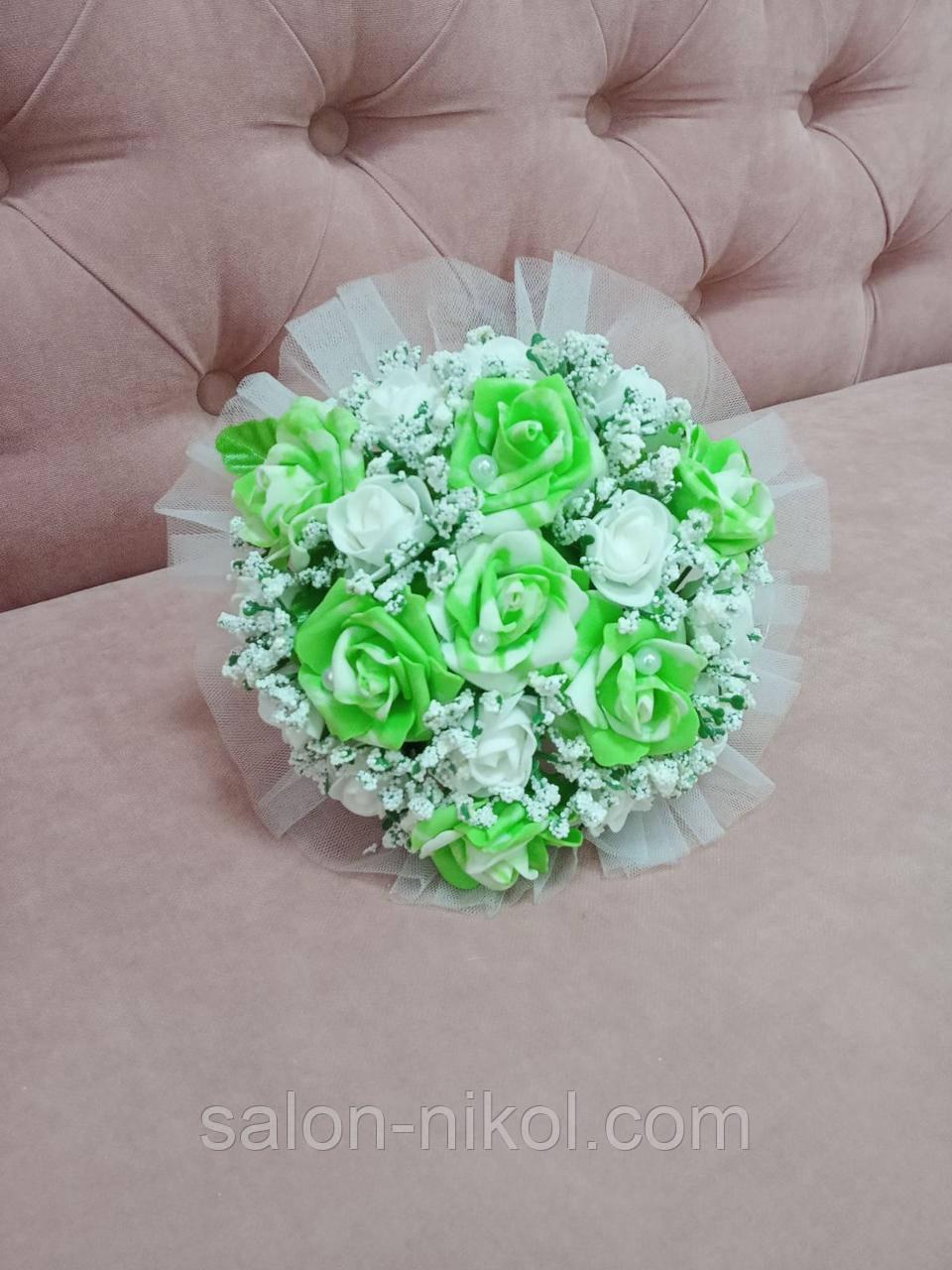 Свадебный букет-дублер для невесты салатового цвета