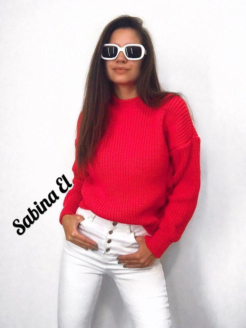Стильный женский теплый свитер, красного цвета (42-48 р-р)