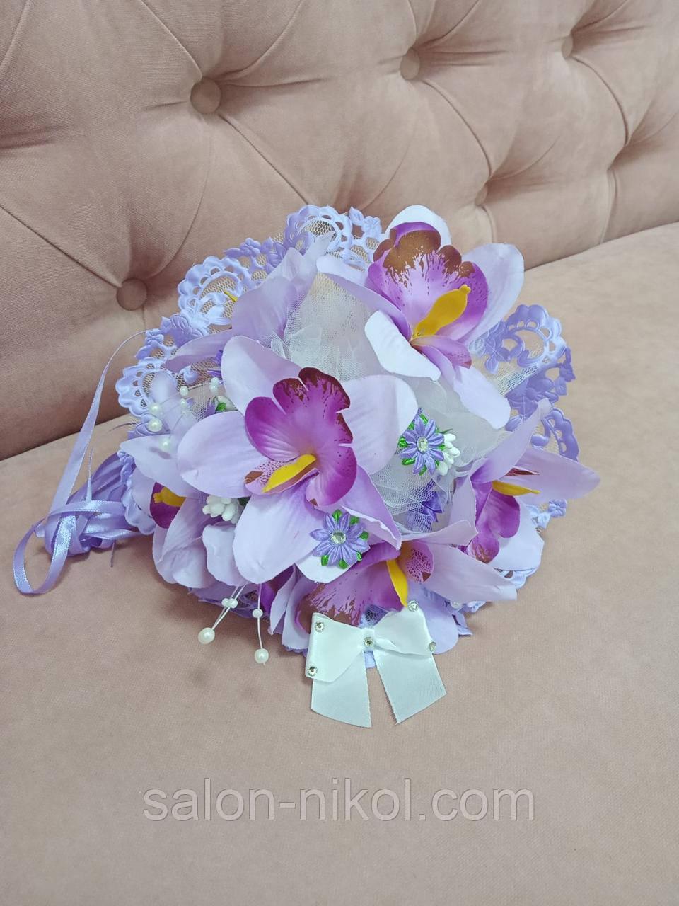 Свадебный букет-дублер для невесты сиреневая орхидея