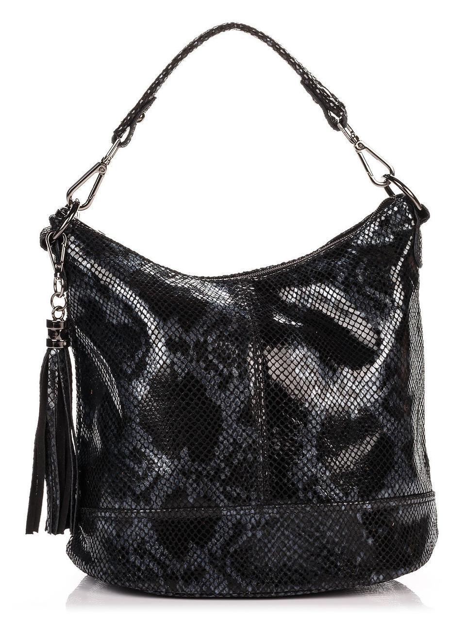 Анималистическая женская сумка-ковш SISSI Diva's Bag черная 26 см х 27 см х 15 см