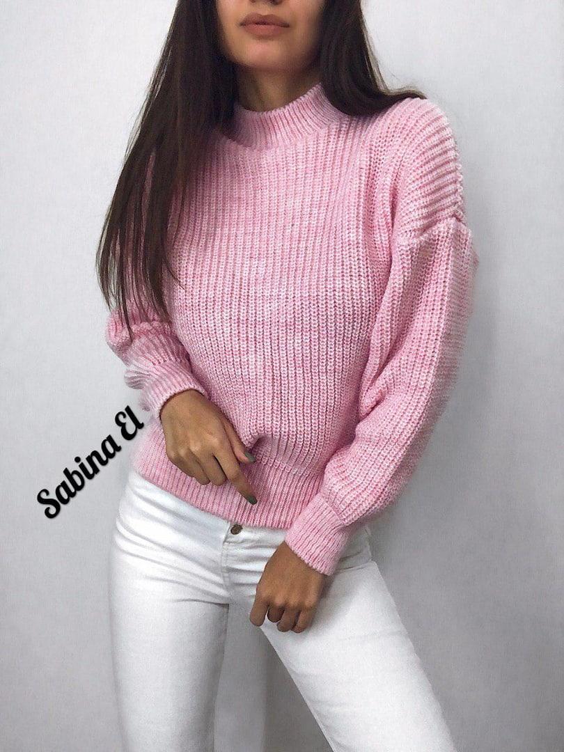 Стильный женский теплый свитер, розового цвета (42-48 р-р)