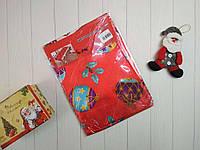 Новогодняя прямоугольная скатерть красного цвета с рисунком 150*220 см