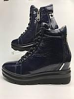 Полуботинки женские кожаные зимние на платформе со шнуровкой тёмно-синие, термо.