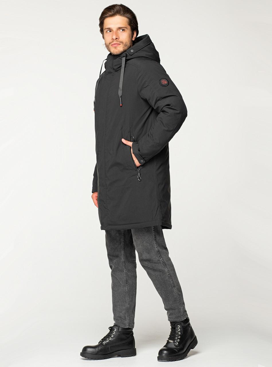 Удлиненная мужская зимняя куртка MALIDINU чёрного цвета