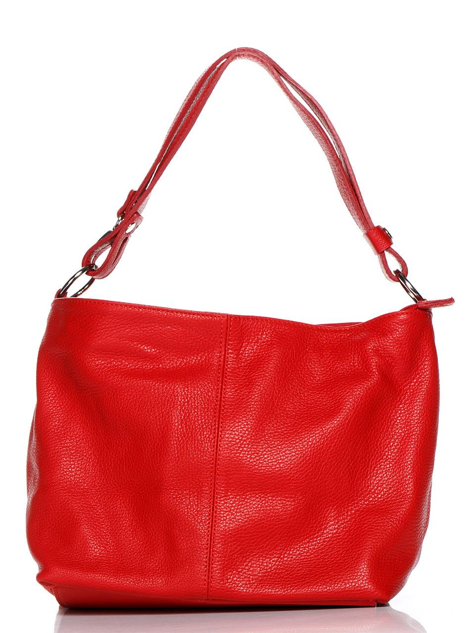 Красная кожаная сумка женская LORELLA Diva's Bag цвет красный 26 см - 24 см - 13 см