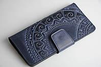 """Кожаный кошелек ручной работы, длинный кошелек c тисненым орнаментом """"Этно"""", серый+синий, фото 1"""