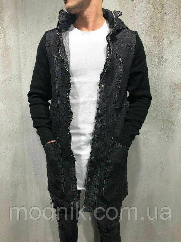 Мужская удлиненная джинсовка (черная) - Турция
