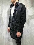 Мужская удлиненная джинсовка (черная) - Турция, фото 2